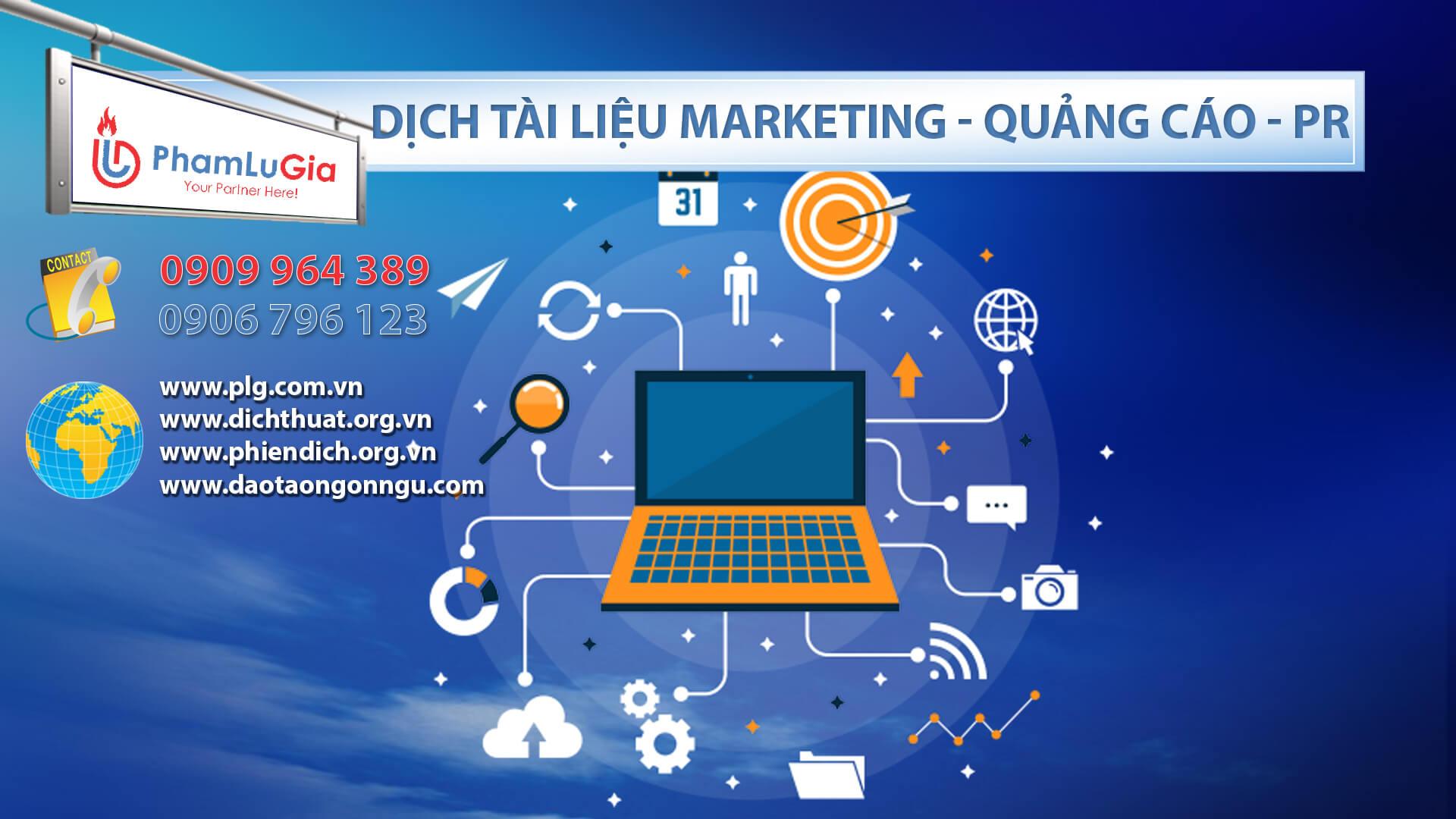 Dịch tài liệu Marketing - Quảng Cáo - PR