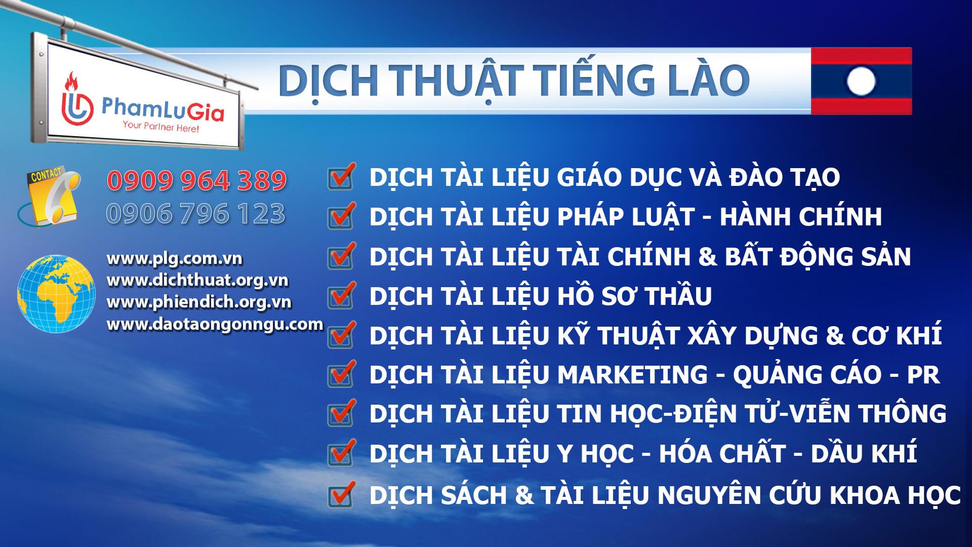 Dịch thuật tiếng Lào chuyên ngành
