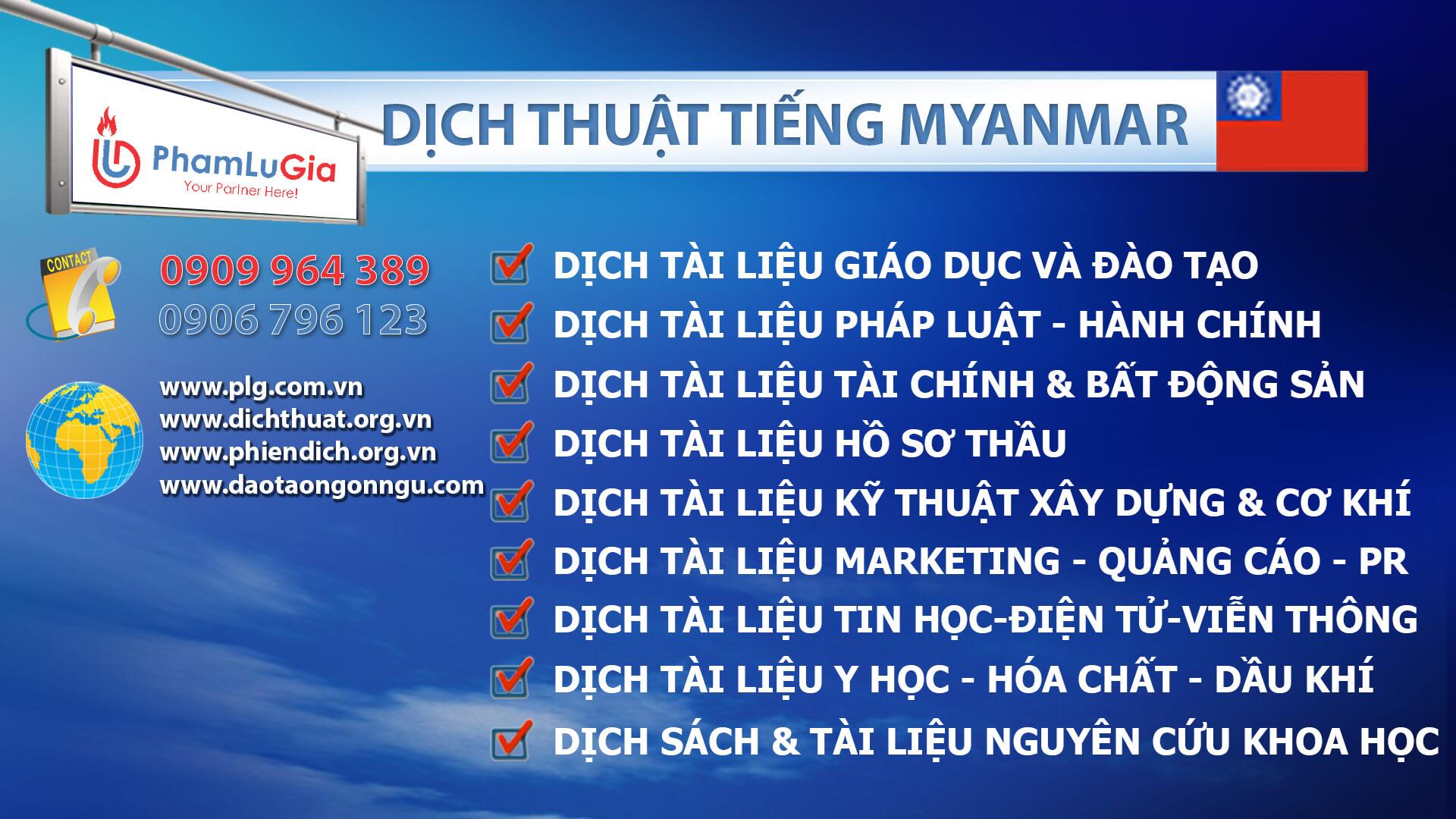 Dịch thuật tiếng Myanmar chuyên nghiệp