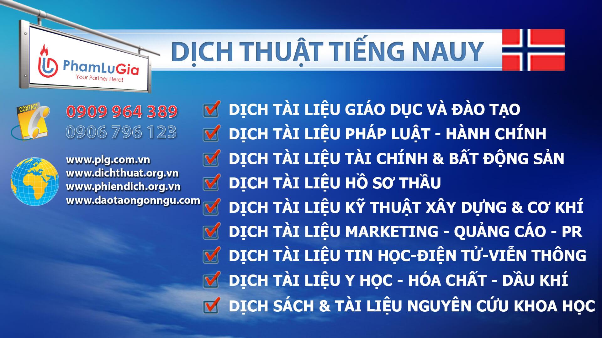 Dịch thuật tiếng Nauy chuyên ngành