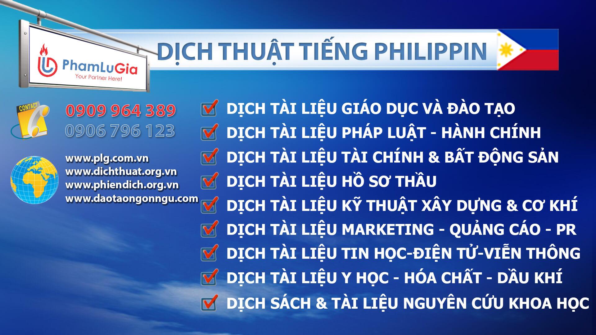 Dịch thuật tiếng Philippin chuyên nghiệp