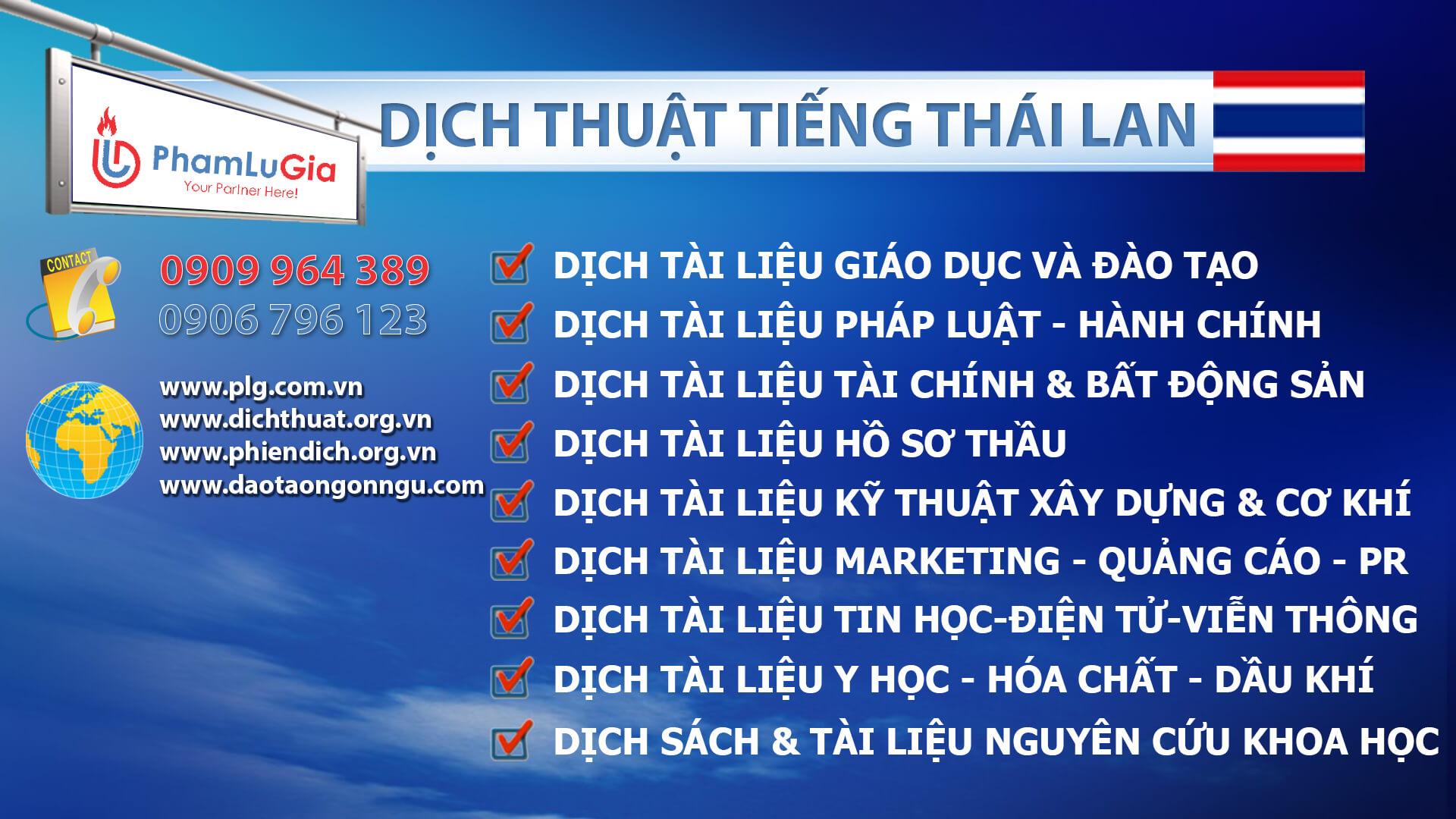 Dịch thuật tiếng Thái chuẩn