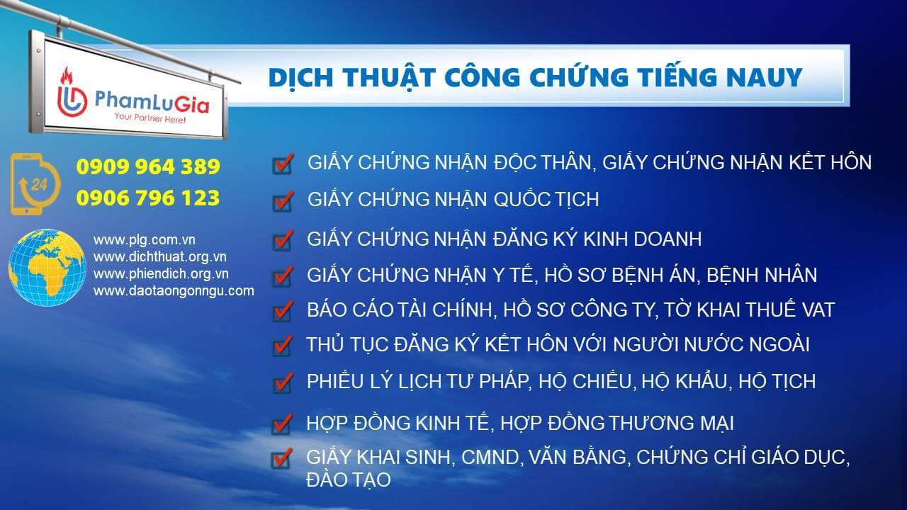 Dịch thuật công chứng tiếng Nauy