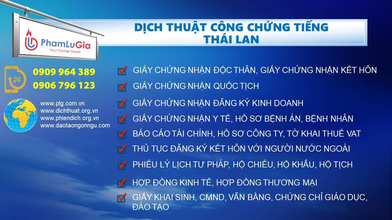 Dịch thuật công chứng tiếng Thái Lan